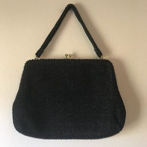 Vintage 50s Black Corde Bead Purse Beaded Bag